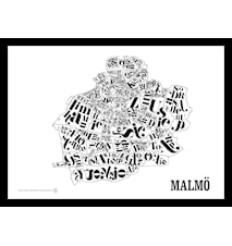 Malmökartan poster - Vit