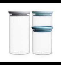 Glasskrukke med lokk 3-pakk 0.3, 0.7 og 1.1L