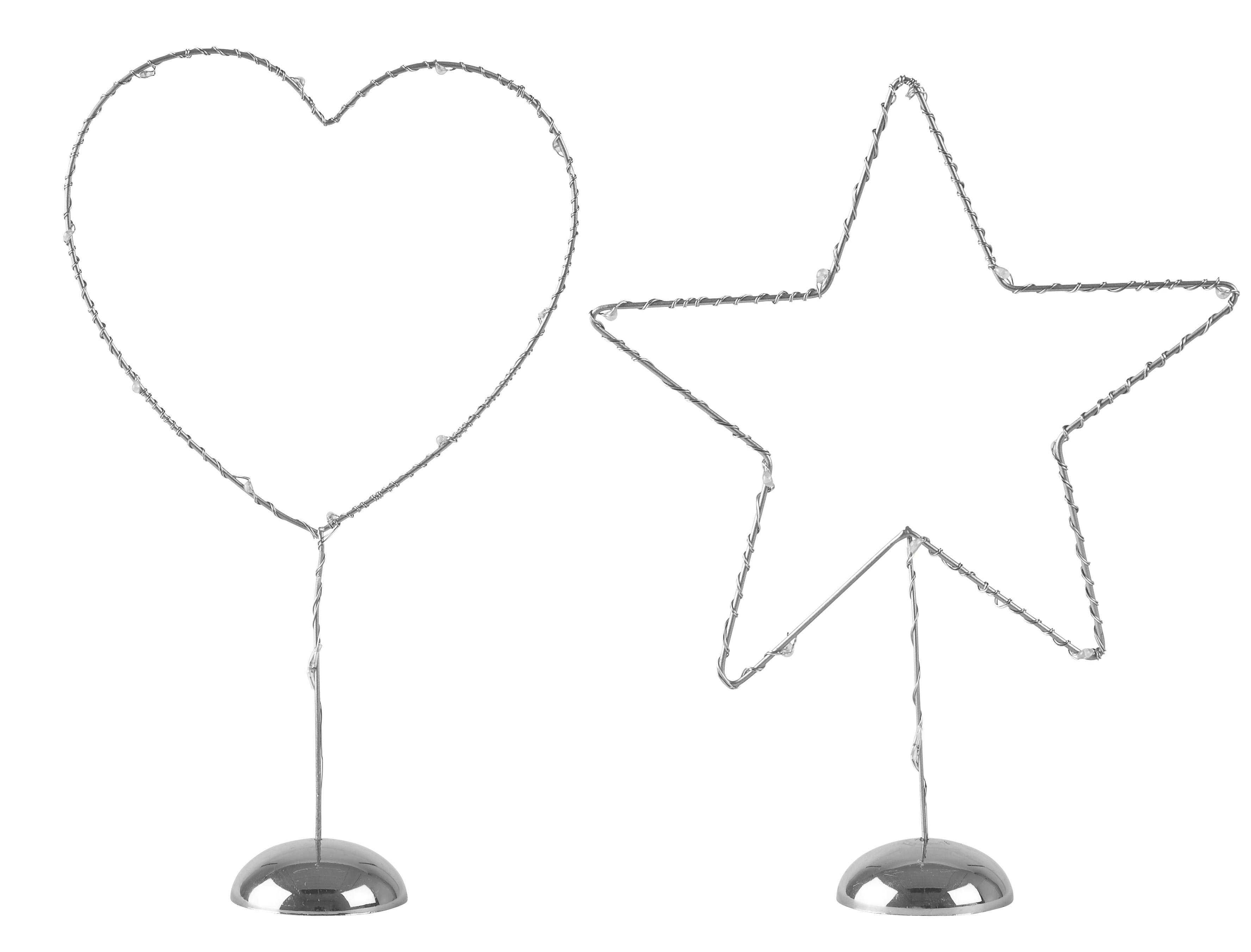 Figur med LED-belysning Silver 22,5 cm