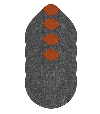 Zone Denmark Tarjotin Tummanharmaa 13,8×12 4-pack