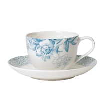 Floreana Blue Kaffekopp&Fat 2 delar