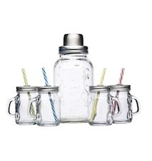 Cocktail Kit med Glass og Shaker 5 deler