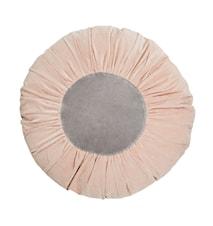 Rund kudde Ø 60 cm - Ljusrosa/grå