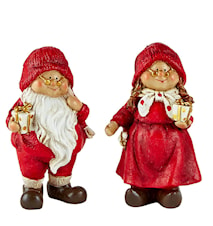 Juldekoration med ask Polyresin 2-pack Röd 9,5x4,5 cm