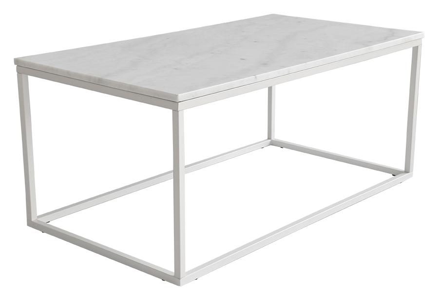 Accent soffbord rektangulärt, 110x60, ljus marmor/vit lack