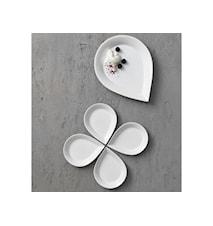 Dråbeskål sæt flad hvid Blomst