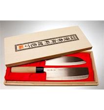 Knivset grönsakshack & santoku i balsabox
