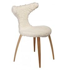 Dolphin sauseskinn stol – Hvit/eik ben