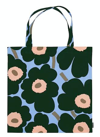 Marimekko Pieni Unikko Cotton Bag Blå/Grön/Persika