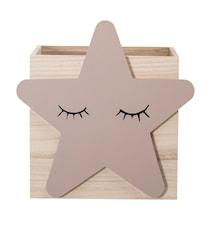 Låda Trä Stjärna 30x27,5 cm - Natur