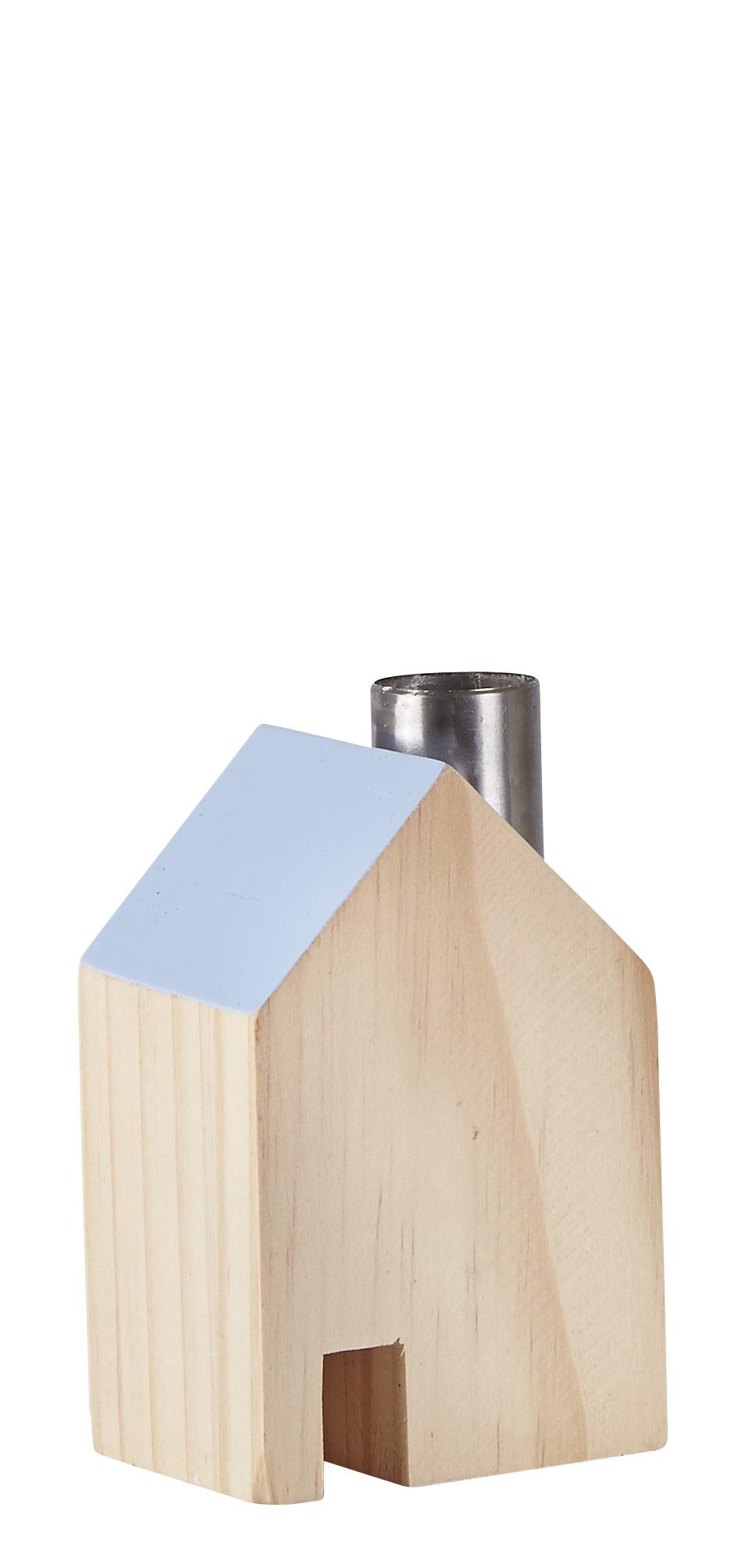 Figur Hus Metall/Blå 10 cm