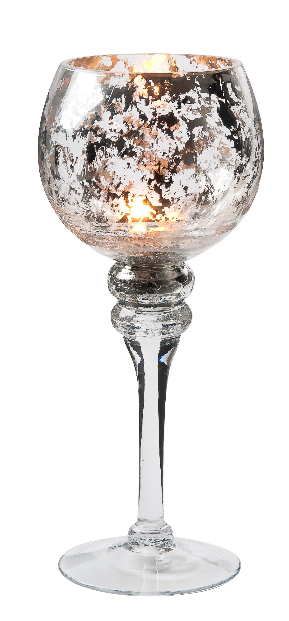 Ljuslykta glas silver mönster höjd 35 cm