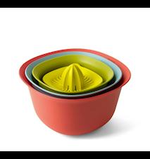 Sett med 4 (Målekopp/Juicepress, 1,5 Ltr, dørslag, 3,2 Ltr) Mix farger