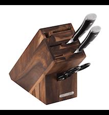 Knivblok, Akacie, til 5 knive, strygestål og saks