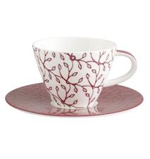 Caffe Club Floral berry Kaffekopp&Fat 2 delar