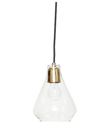 Hübsch Lampa pendel glas/mässing D 17