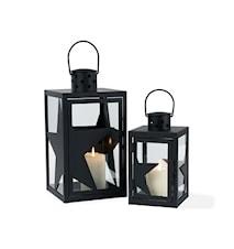 Lanterne/2 Stjern sort metal S