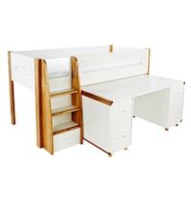 Curve Loftsäng med skrivbord fyra skåp - Vit