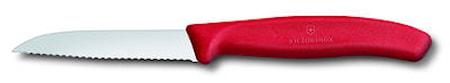 Victorinox Grönsak- & skalkniv 8 cm, rött handtag, vågtandat rakt blad