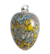 Glasägg hängande Ø 8 cm - Blå/gul