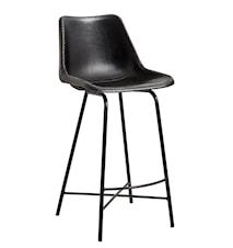 Leather with iron barstol - svart