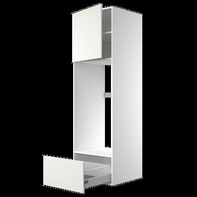 Høyskap 195,2 cm høyt til kjøleskap, åpning: 105,6 x 56,7 cm.
