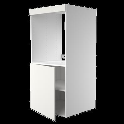 Høyskap med dør til ovn, åpning: 65,6 x 56,7 cm.