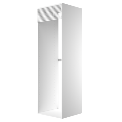 Høyskap 195,2 cm høyt til kjøleskap, åpning: 192 x 56,7 cm.