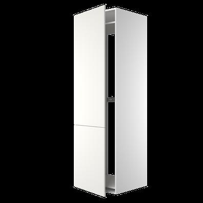 Høyskap 195,2 cm høyt til kjøleskap, åpning: 178,5 x 56,7 cm.