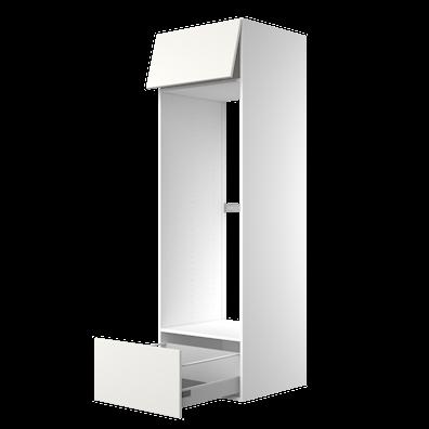 Høyskap 195,2 cm høyt til kjøleskap, åpning 131,2 x 56,7 cm