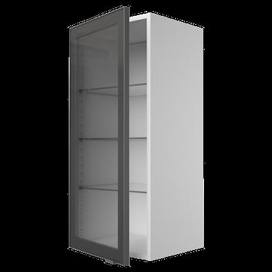 Vitrinskåp 70,4 cm högt med snygg aluminiumram och glashyllor