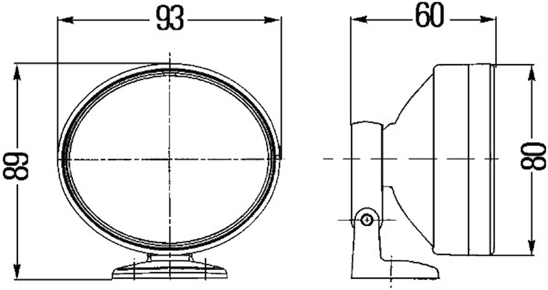 Varselljussats 12V vit oval