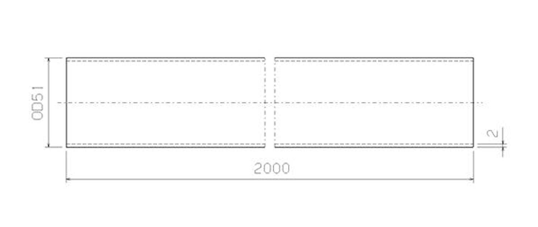 Stålrör 51 mm x 2000 mm