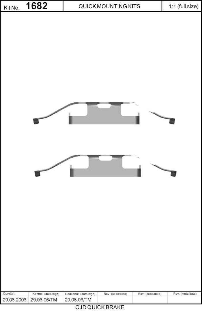 Monteringssats bromsbelägg