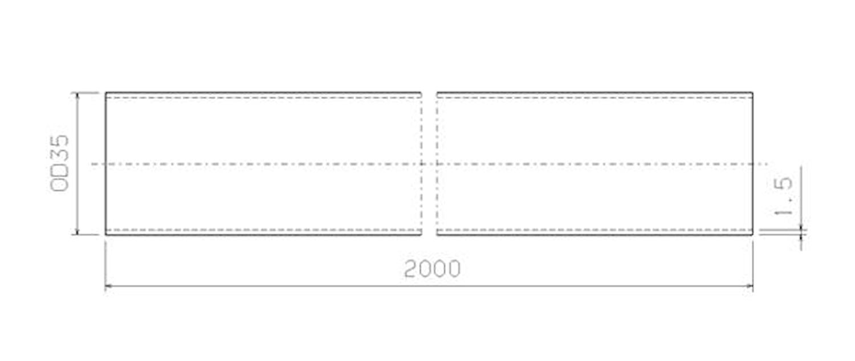 Stålrör 35 mm x 2000 mm