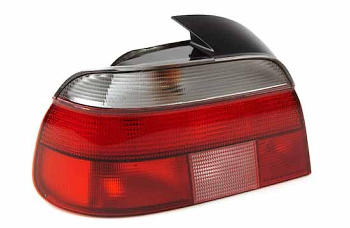 Baklykta vä vit/röd BMW 5-ser