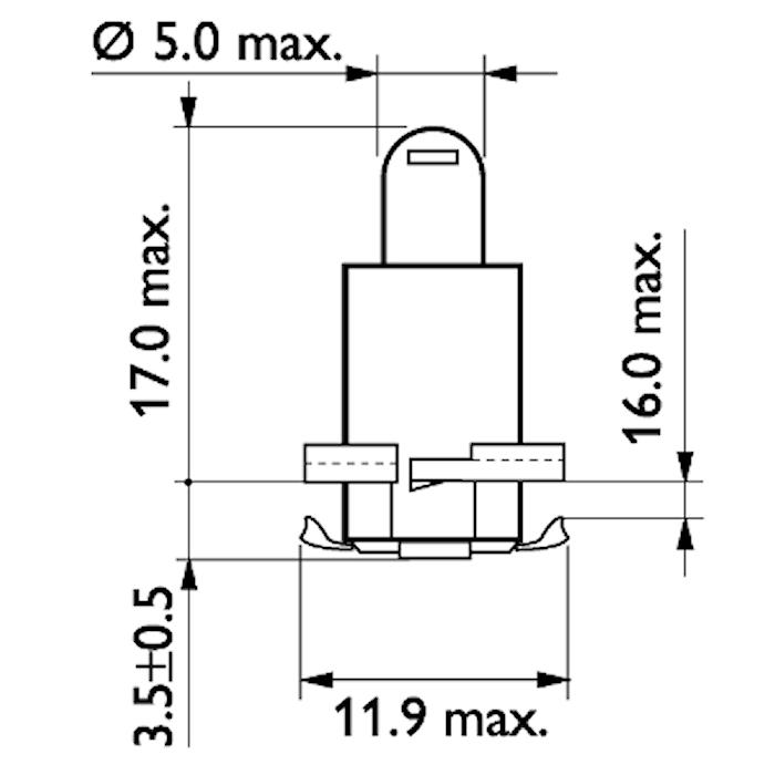 Glödlampa 24V 1,2W T1,5-12