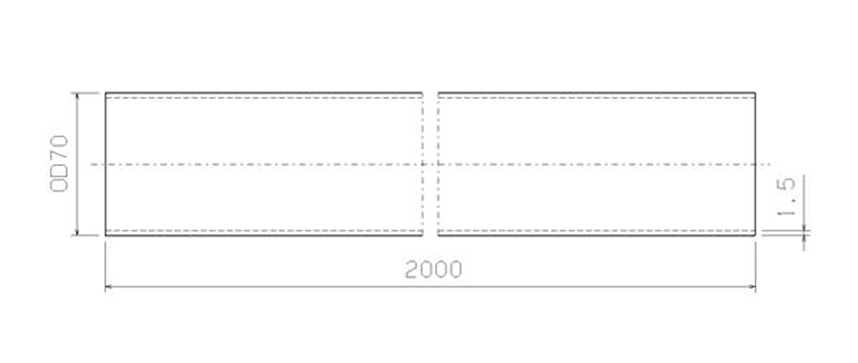 Stålrör 70 mm x 2000 mm