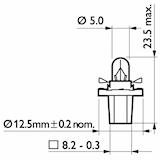 Glödlampa 12V 1,2W BAX8,5d/1,5