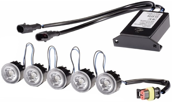 Varselljussats 5 LED vit 9-32V