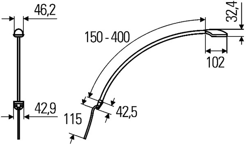 Läslampa 9-32V 400mm Svartkåpa