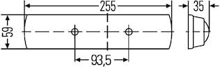 Lysrörsarmatur 24V 7W 255x59mm