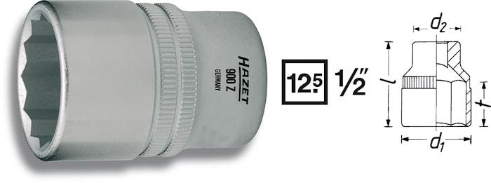 """Hylsa 12 kant 32 mm 1/2"""""""