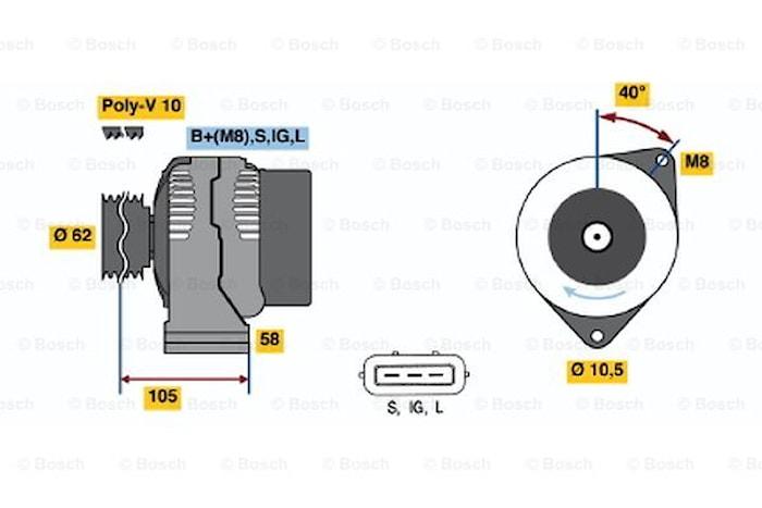 Generator utbytes 24V/90A
