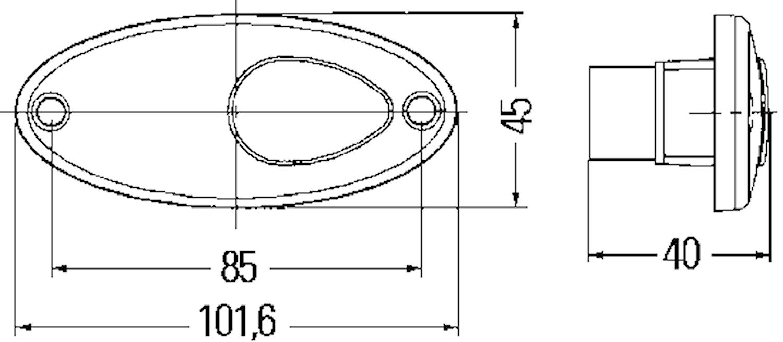 Pos.lykta 12V vit 102x45mm