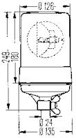 Varningsfyr 12V gul KL 600