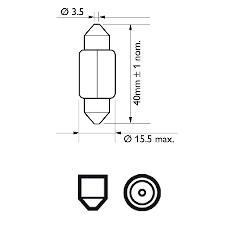 Glödlampa 12V 15W SV8,5