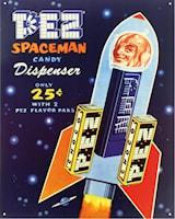 Plåtskylt/PEZ -Spaceman