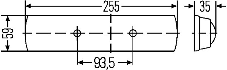 Lysrörsarmatur 12V 7W 255x59mm