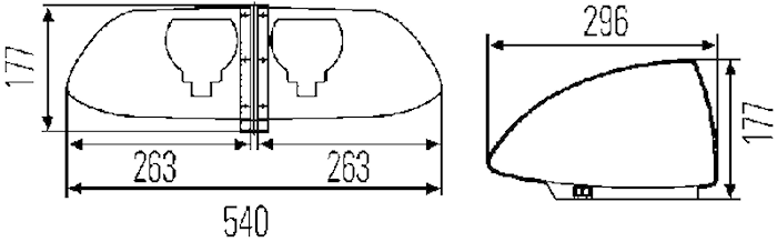 Blixtramp 12V gul OWS-X 1400